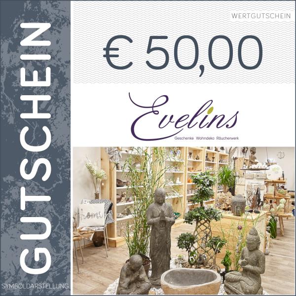 50 Euro Gutschein - Evelins - Wohndeko Geschenke Räucherwerk